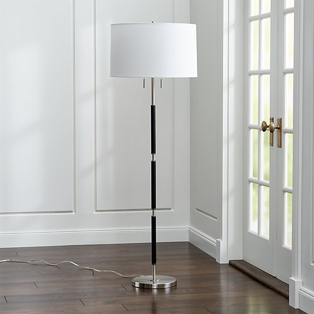 Owen Nickel Floor Lamp with Black Leather - Image 1 of 7