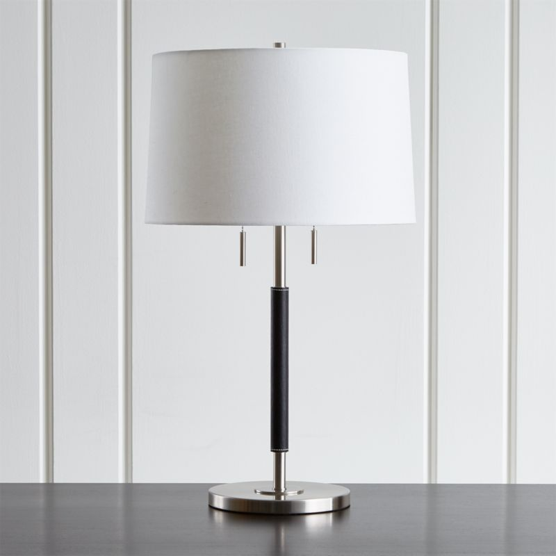 Black Lamp owen nickel table lamp with black leather | crate and barrel