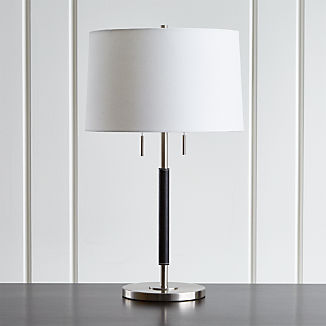 Owen Nickel Table Lamp with Black Leather