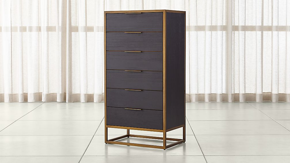 Oxford Black 6 Drawer Tall Chest Reviews Crate And Barrel