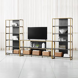 Oxford 80 Black Wood Media Console With 2 Wide Open Bookcases
