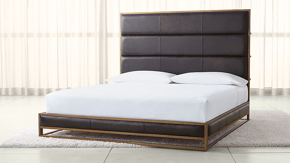 Oxford Leather King Bed + Reviews   Crate and Barrel
