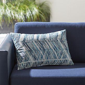 Painted Chevron Outdoor Lumbar Pillow