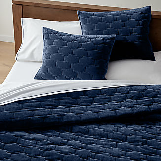 Palazzo Blue Velvet Quilts and Pillow Shams