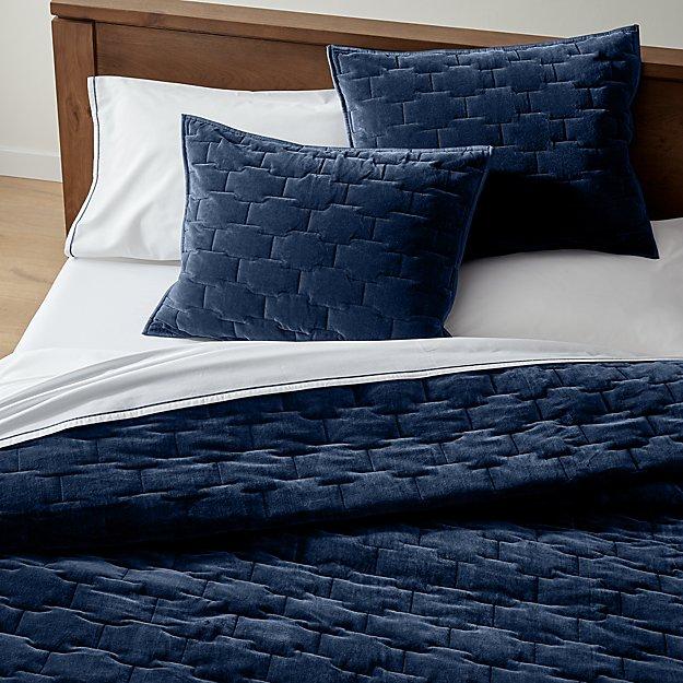 Palazzo Full/Queen Blue Velvet Quilt - Image 1 of 5