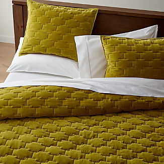 Palazzo Mustard Yellow Velvet Quilts and Pillow Shams