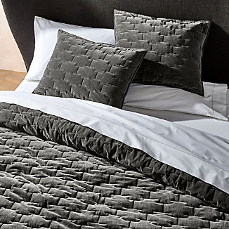 Palazzo Grey Velvet Quilts and Pillow Shams