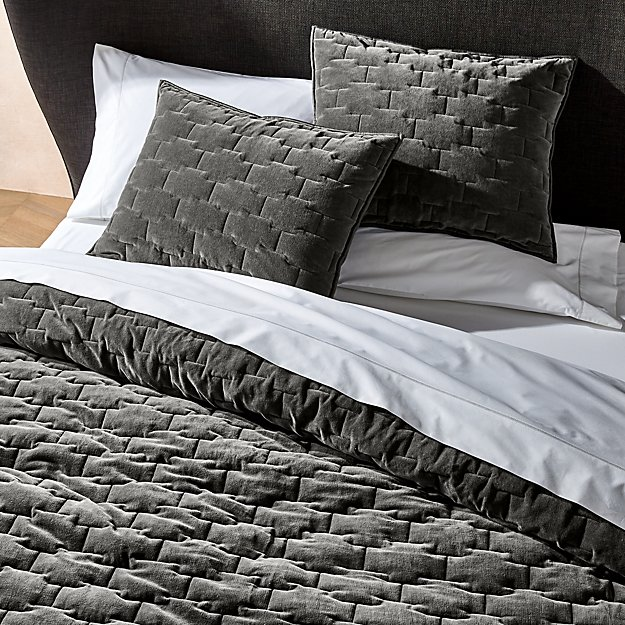 Palazzo Grey Velvet Quilts and Pillow Shams - Image 1 of 5