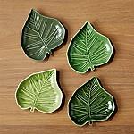 Palm Leaf Appetizer Plates, Set of 4