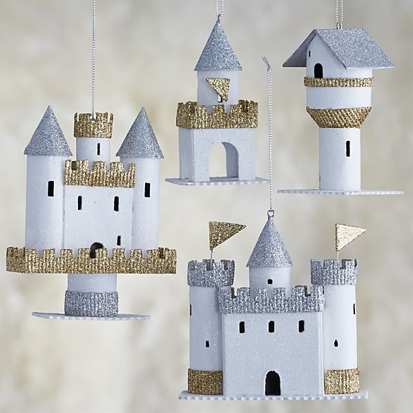 Set of 4 Paper Castle Ornaments