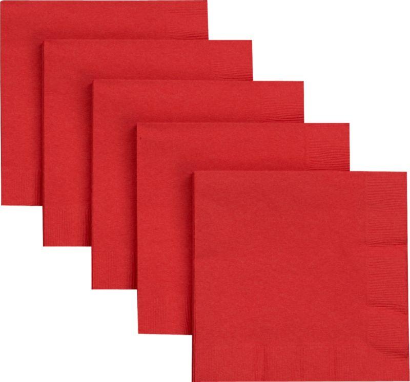 Recycled paper cocktail napkins in festive red.<br /><br /><NEWTAG/><ul><li>2-ply recycled tissue napkins</li><li>Water-based inks</li><li>Made in USA</li></ul><br />