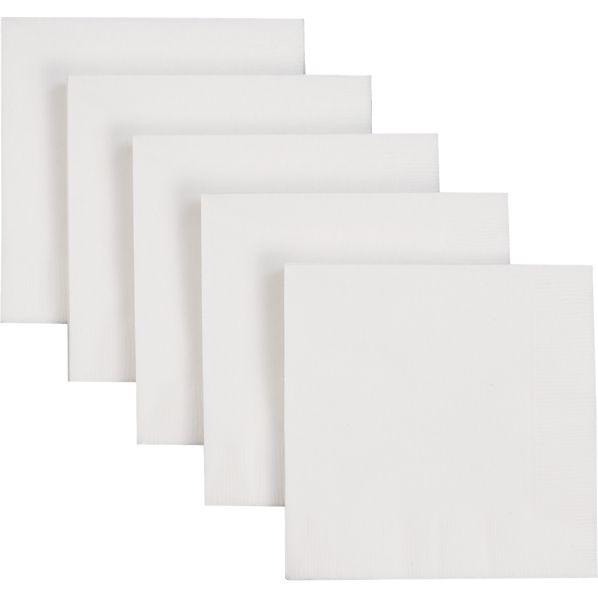 Set of 50 White Paper Cocktail Napkins