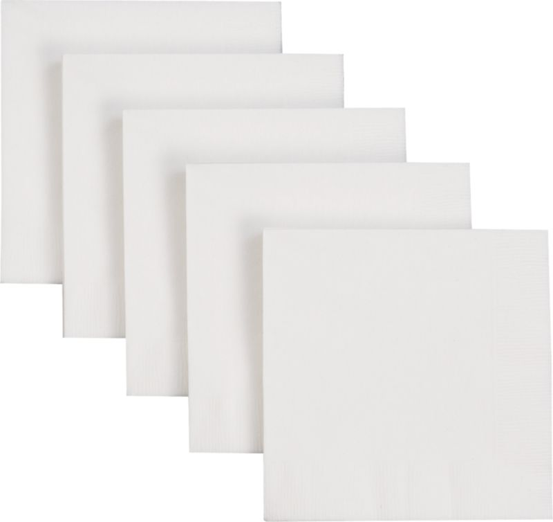 Recycled paper cocktail napkins in bright white.<br /><br /><NEWTAG/><ul><li>2-ply recycled tissue napkins</li><li>Water-based inks</li><li>Made in USA</li></ul><br />