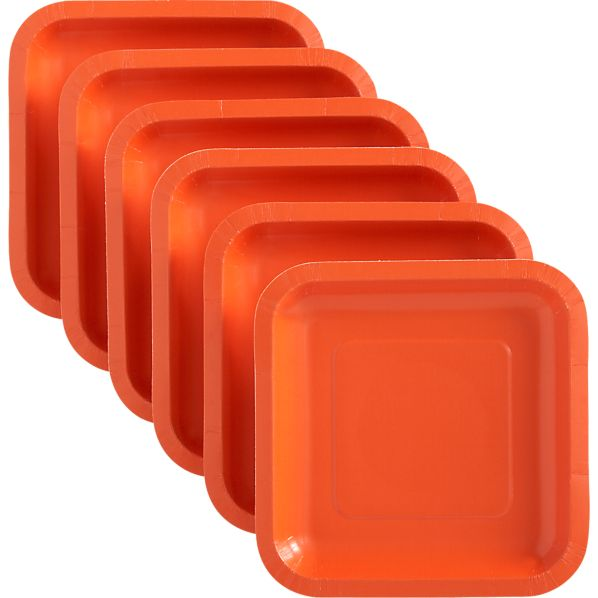 Set of 18 Orange Deep Paper Appetizer Plates
