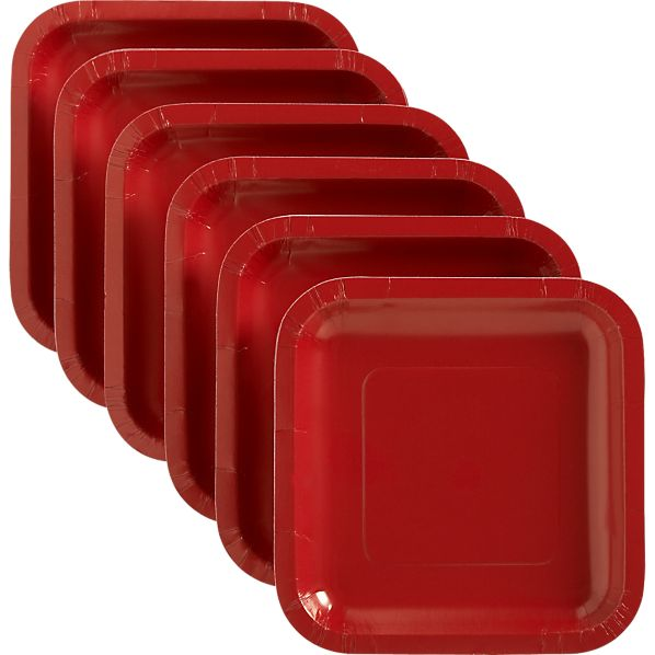 Red Deep Paper Appetizer Plates Set of 18