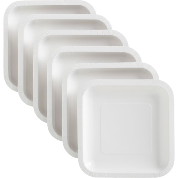 White Deep Paper Appetizer Plates Set of 18