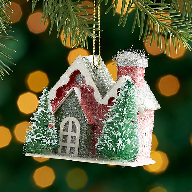Red Paper House Ornament