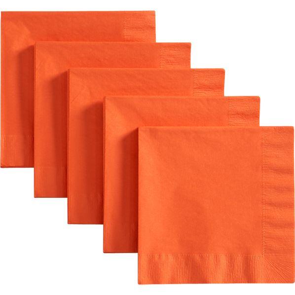 Set of 50 Orange Luncheon Napkins
