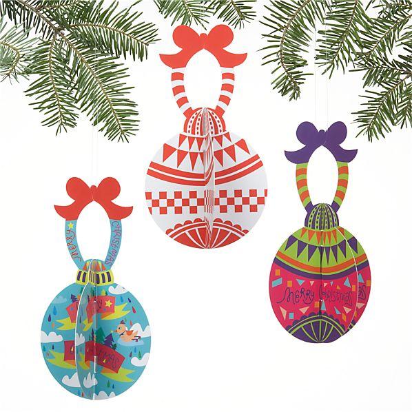 Set of 3 Paper Ornaments