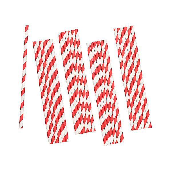 Set of 25 Red Stripe Paper Straws