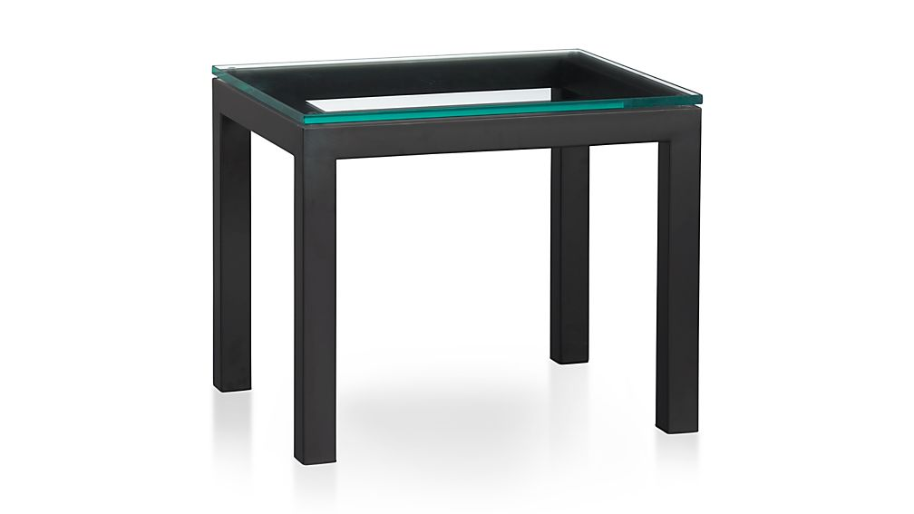Parsons Clear Glass Top Dark Steel Base 20x24 End Table