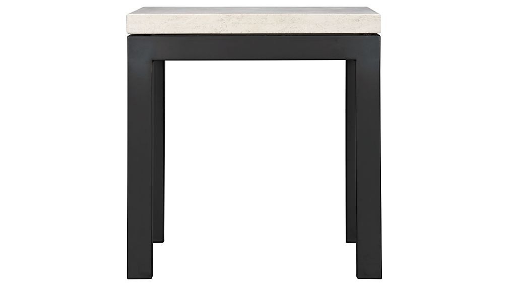 Parsons Dark Steel Side Table with Travertine Top