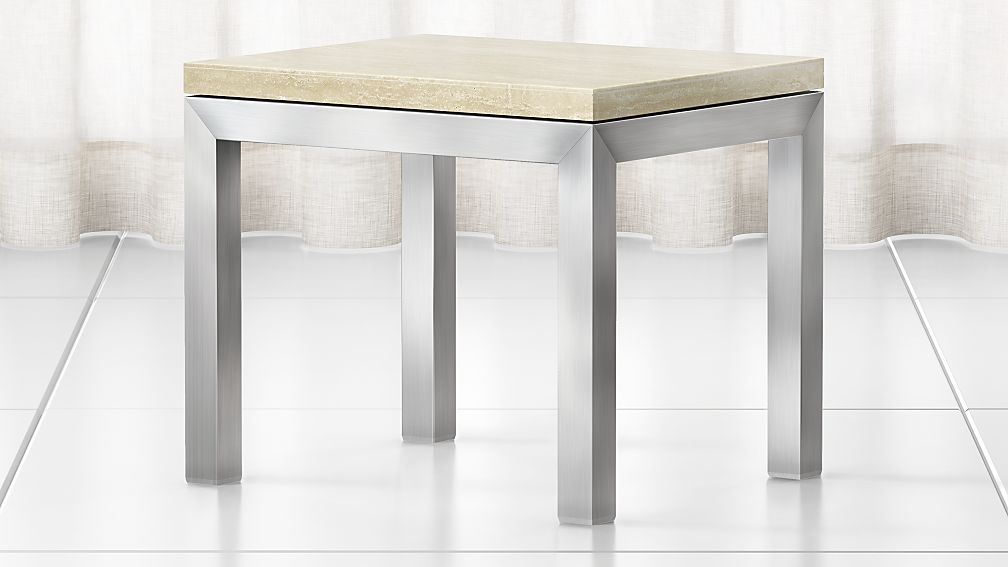 Parsons Travertine Top/ Stainless Steel Base 20x24 End Table - Image 1 of 4
