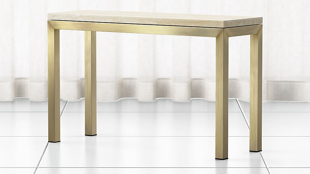 Parsons Travertine Top/ Brass Base 48x16 Console - Image 1 of 4