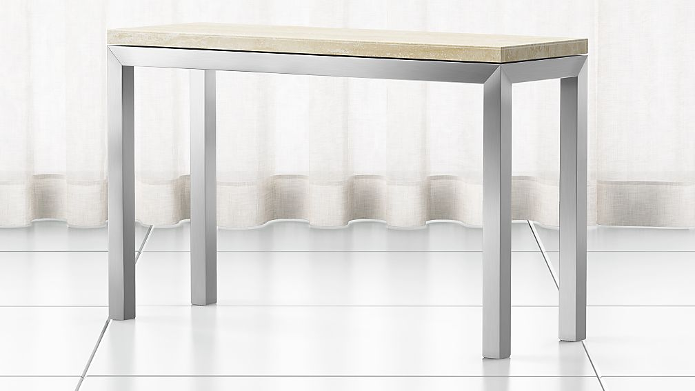 Parsons Travertine Top Stainless Steel Base 48x16 Console
