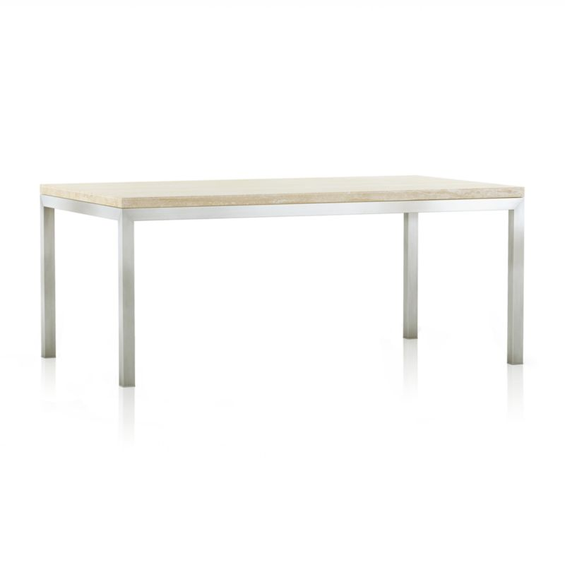 Parsons Travertine Top Stainless Steel Base 72x42 Dining Table