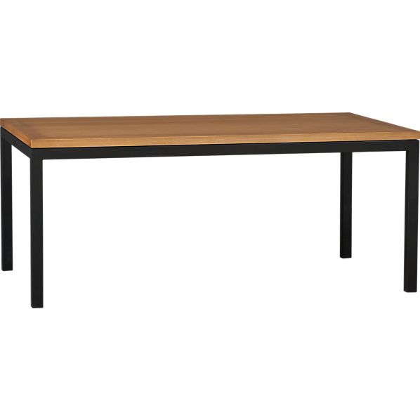 Parsons Bamboo Top 72x42 Dining Table with Natural Dark Steel Base