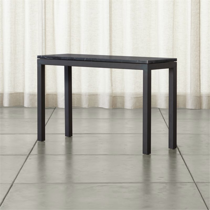 Parsons Black Marble Top Dark Steel Base 48x16 Console Reviews