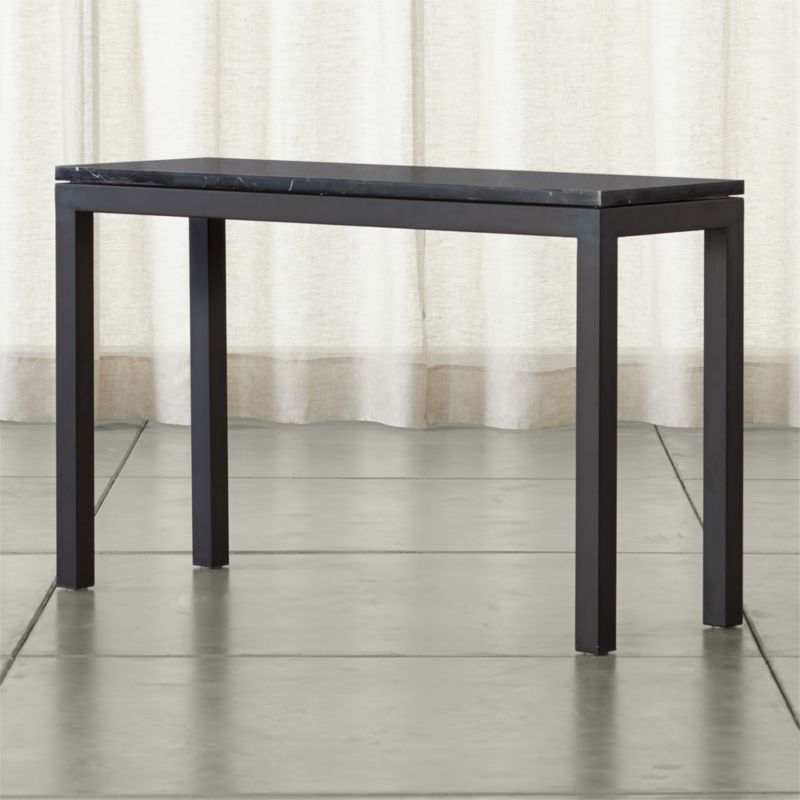 Parsons Black Marble Top Dark Steel Base 48x16 Console