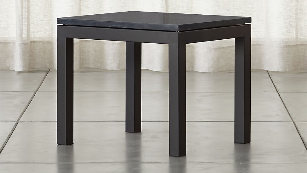 Parsons Black Marble Top Dark Steel Base X End Table Reviews - Cb2 tux coffee table