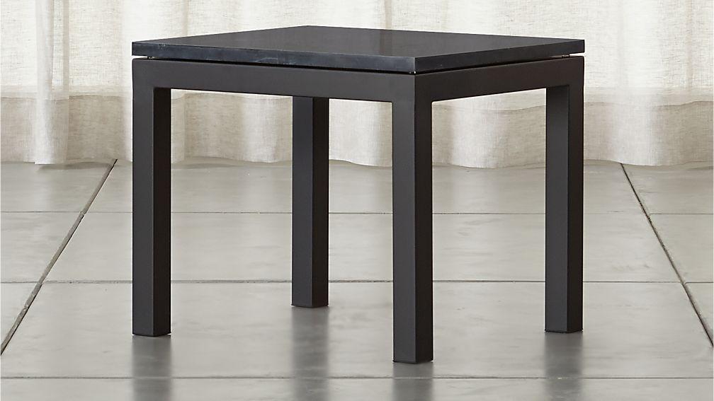 Parsons Black Marble Top/ Dark Steel Base 20x24 End Table - Image 1 of 6