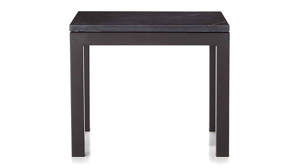 Parsons Black Marble Top/ Dark Steel Base 20x24 End Table