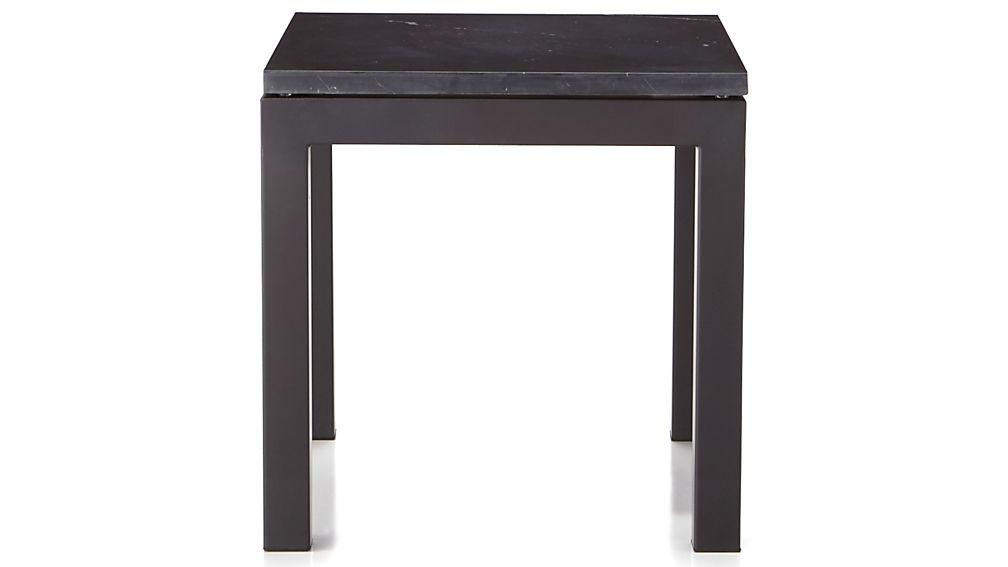 Parsons Dark Steel Side Table with Black Marble Top