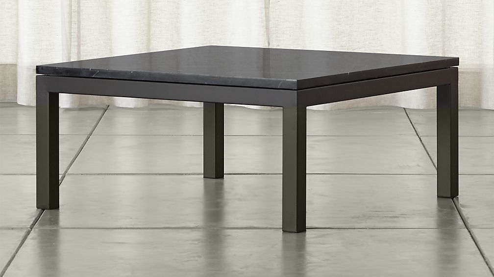 black square coffee table Parsons Black Marble Top/ Dark Steel Base 36x36 Square Coffee  black square coffee table