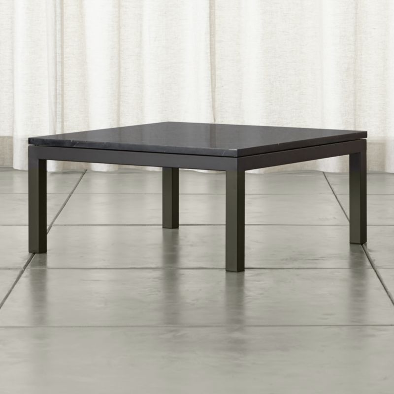 Crate And Barrel Black Marble Coffee Table: Parsons Black Marble Top/ Dark Steel Base 36x36 Square