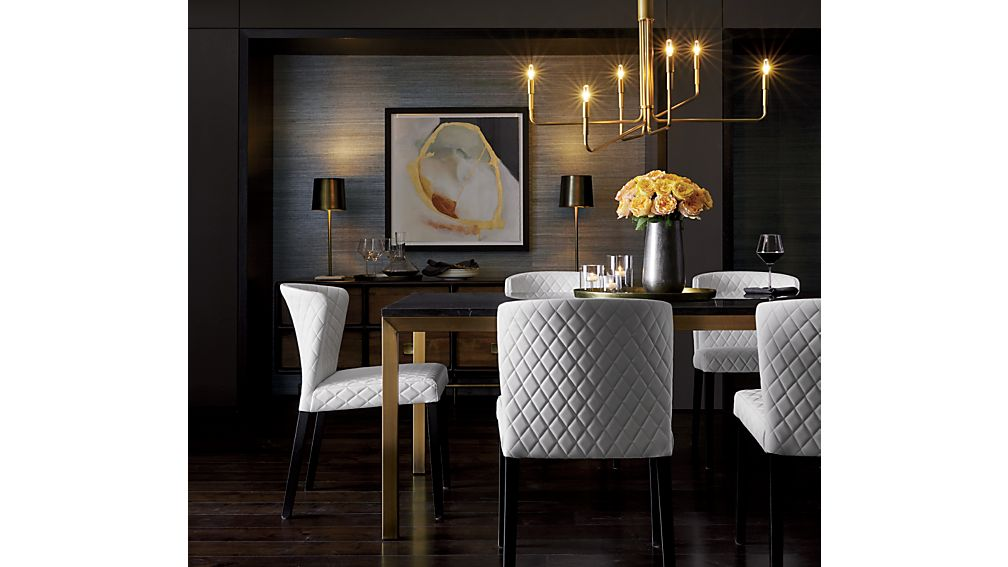 Parsons Black Marble Top/ Brass Base 48x28 High Dining Table