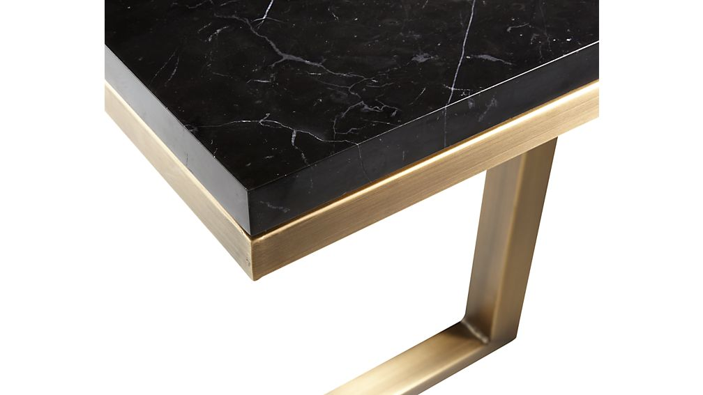 Parsons Black Marble Top/ Brass Base 20x12 C Table