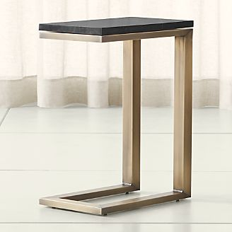 parsons black marble top brass base 20x12 c table