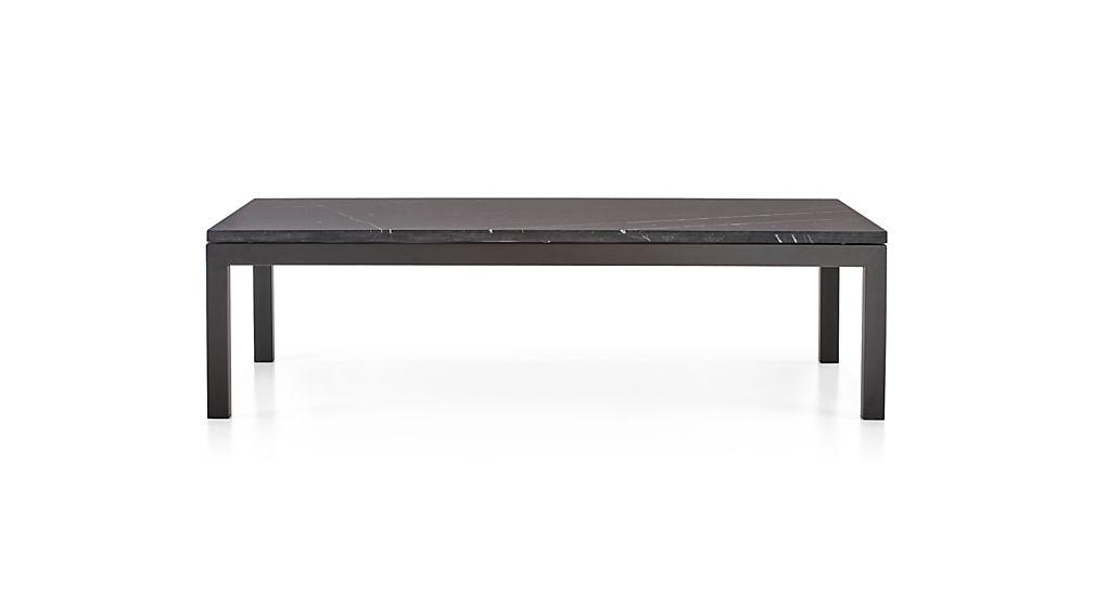 Parsons Black Marble Top/ Dark Steel Base 60x36 Large Rectangular Coffee Table