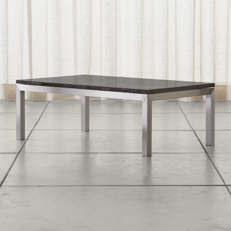 Nestor Black Marble Square Coffee Table On A Metal Base: Parsons Black Marble Top/ Stainless Steel Base 48x28 Small