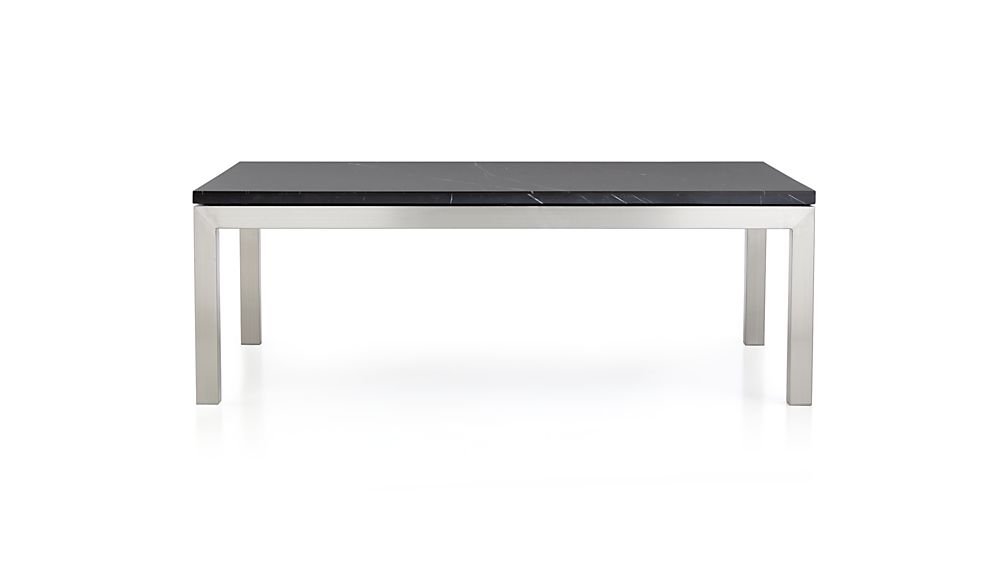 Parsons Black Marble Top/ Stainless Steel Base 48x28 Small Rectangular Coffee Table