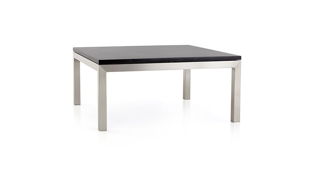 Parsons Black Marble Top/ Stainless Steel Base 36x36 Square Coffee Table