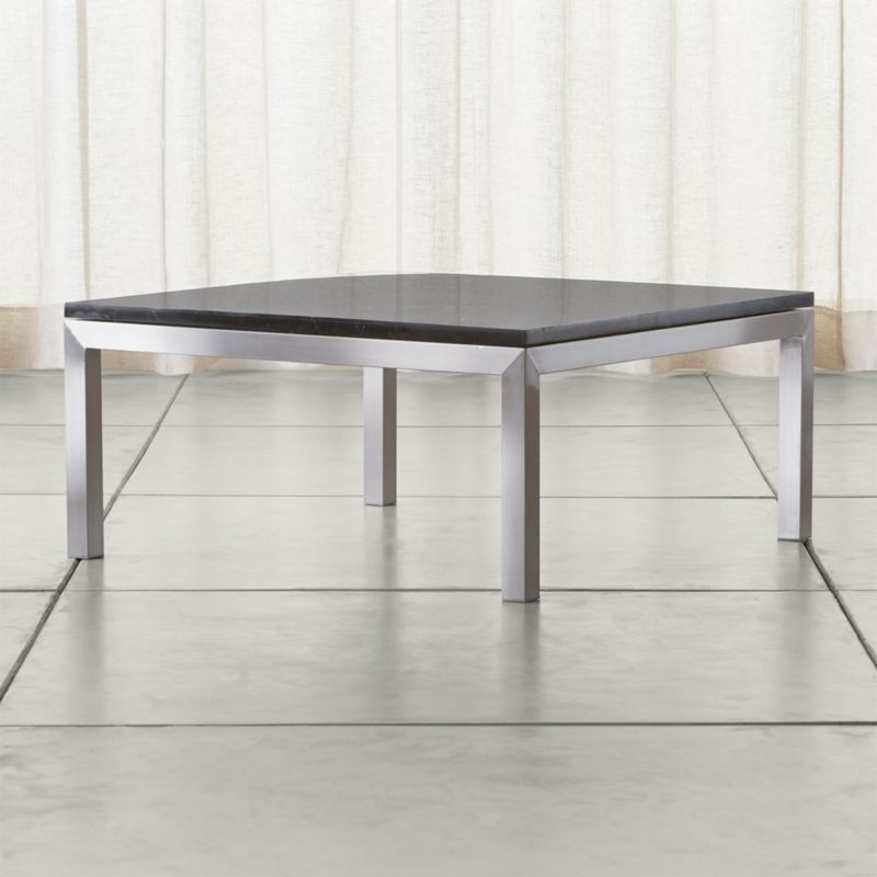 Parsons Black Marble Top Stainless Steel Base 36x36 Square Coffee