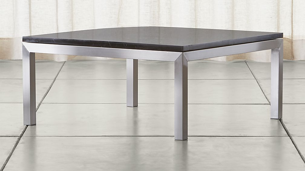 Parsons Black Marble Top Stainless Steel Base 36x36 Square Coffee Table Reviews Crate And Barrel