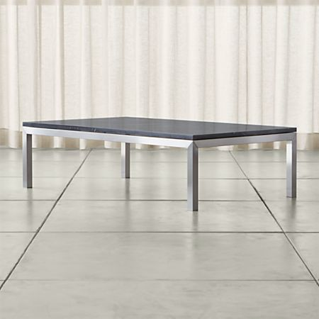Parsons Black Marble Top Stainless Steel Base 60x36 Large Rectangular Coffee Table Crate And Barrel