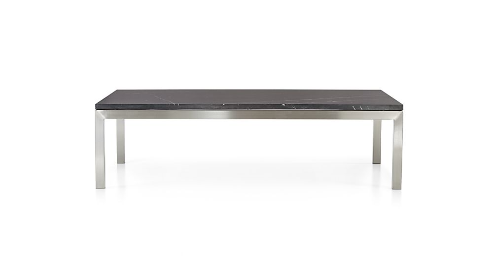Parsons Black Marble Top/ Stainless Steel Base 60x36 Large Rectangular Coffee Table